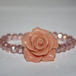 Beautiful pink crystal and rose bracelet 7""